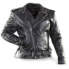 cowhide top quality black leather biker jacket with side lacing zip out