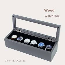 han 6 slots wooden watch box space ash high grade watch display box fashion storage boxes jewelry case with pillow w029 watch winder case pocket watch case