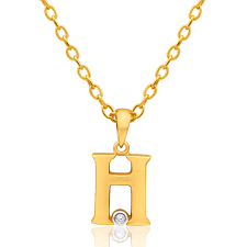9ct yellow gold pendant initial h set with diamond 10002216 jewellery shiels jewellers