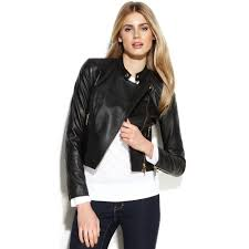 lyst michael kors cropped leather moto jacket in black
