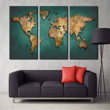 world map canvas wall painting home decor vintage large canvas print world map art pictures for