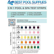 Water Test Chart 5 In 1 Swimming Pool Spa Water Test Strips 50 Strips