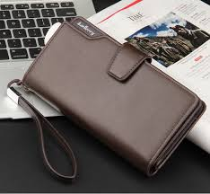 Men business casual long paragraph hasp wallet phone package multifunction  hand bag QB57B Brown