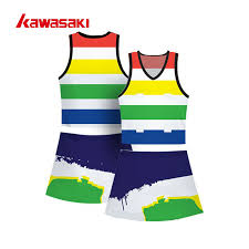Perfessional Kawasaki Custom Practice Netball Tennis Dress Sublimation Rainbow Color Breathable Women Exercise Sports Shirts