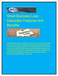 Commercial Loans Calculator Small Business Loan Calculator Features And Benefits By