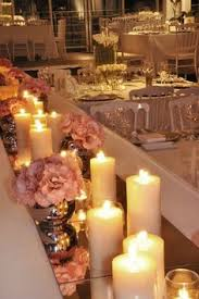 Mirror Tiles For Table Decorations Mirror tiles as table runners Beautiful with the candles to 8