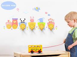 Diy Kids Coat Rack 100 Pcs DIY Wall Stick Hooks Animals Train Child Interest 96