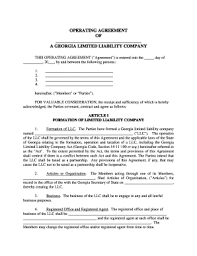 Llc Operating Agreement Forms And Templates - Fillable & Printable ...