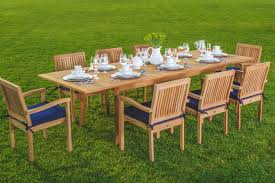 outdoor wood dining table. Amazon.com: New 9 Pc Luxurious Grade-A Teak Dining Set -94\ Outdoor Wood Table