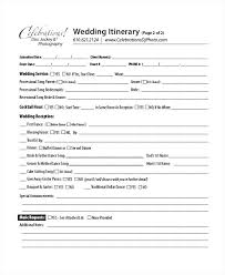 Sample Reception Itinerary Template Wedding Schedule Of