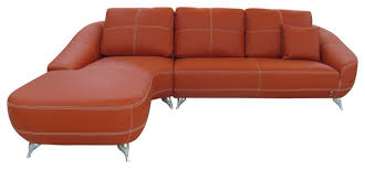 orange lucy leather sectional sofa left chaise orange sectional sofa57