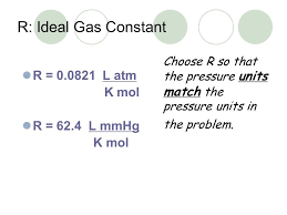 gas constant atm. r: ideal gas constant r \u003d 0.0821 l atm k mol 62.4