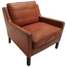 danish thams kvalitet tan brown leather armchair mid century chair 1960s for
