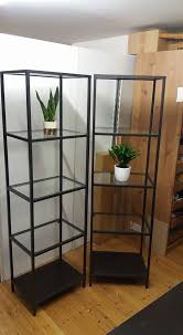 ikea vittsjo black brown metal and tempered glass shelving unit good condition 51