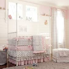 pink and gray chevron 3 piece crib bedding set