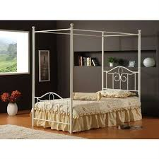 Full Traditional Metal Canopy Bed in Off White Finish | Canopy Beds ...