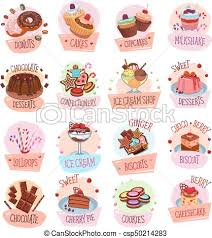 Vector Dessert Cackes Icons For Bakery Shop Cafe Bakery Shop Sweets