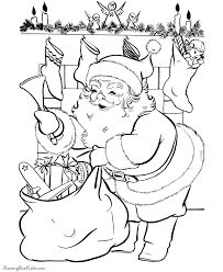 santa delivers christmas coloring pages