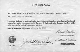 Myra Crawford Webster's Life Diploma
