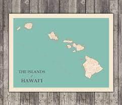 hawaiian islands typographic map print