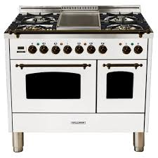 double oven dual fuel italian range true convection 5 burners griddle lp gas bronze trim in white