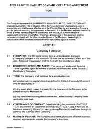 Business Operating Agreement Download Texas LLC Operating Agreement Template Llc Partnership 8