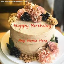 happy birthday fruit and flowers cake