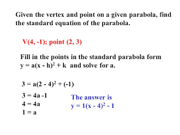 given the vertex and point on a given parabola find