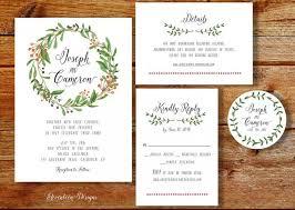 Blank Wedding Invitation Kits Wreath Wedding Invitation Printable