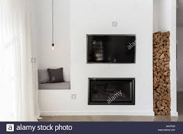 Tv Gas Fireplace Design Built In Tv And Gas Fire In A Contemporary Living Room Stock