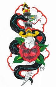 наколка змея обвивает кинжал татуировки со змеей искусство