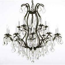 versailles 15 light black wrought iron and crystal chandelier