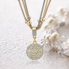gold color rhinestone ball pendant necklace with austrian crystal ready made suits
