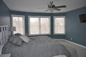 Elegant Grey Curtains Bedroom in Modern Home: Amazing Grey Curtains Bedroom  Blue Marine Wall Fan