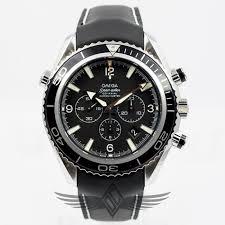 omega seamaster planet ocean 45mm leather strap black dial black bezel watch 2910 50 81