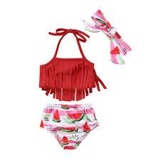 Toddler Kid Baby Girls Swimsuit Bikini Set Tassel Swimming Tops ...
