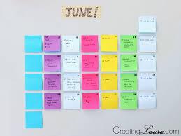 diy sticky note calendar from creating laura organization