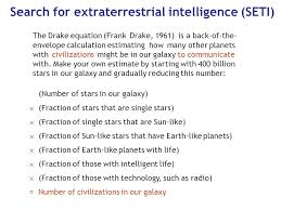 search for extraterrestrial intelligence seti the drake equation frank drake 1961