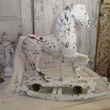 white rocking horse large vintage french nordic wooden hand painted white distressed rusty wheels shabby cottage