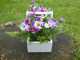 artificial potted plant 28cm purple cottage cosmos flowers in a white wooden trough house