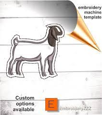 Boer Goat Embroidery Designs Boer Goat Feltie In The Hoop Embroidery Pattern Ith Boer