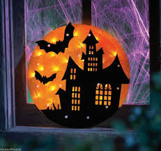 haunted house lighting ideas. Haunted House-Lighted House Silhouette Window Decor Hang This Harvest Moon In Your And Watch The Glow Behind Creepy Light Lighting Ideas W