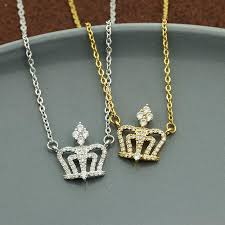 whole princess crown pendant pave crystal cz king queen crown chain necklaces for women statement jewelry bridesmaid gift diamond necklace necklaces for