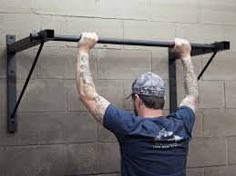 wall mounted pull up bar black