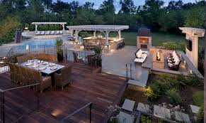 Outdoor Kitchen Lighting Pergola Outdoor Kitchen Ipe Decking And Linear Fire Pit