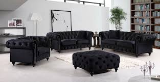 Tufted Living Room Set Meridian Furniture 662bl S 4pc Tufted Black Velvet Sofa Living