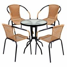 3 5 piece bistro set tan wicker rattan woven chairs with round glass table new