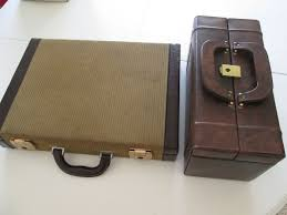 bags from the 50s one physician bag and one leather and velvet briefcase
