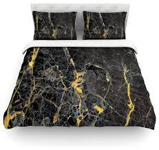 kess original gold fleck black marble duvet cover queen contemporary duvet