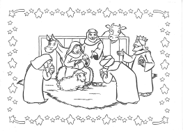 Kerststal Figuren Kleurplaten